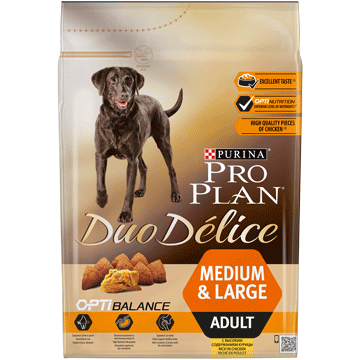 ​PURINA® PRO PLAN® Duo Delice Adult Medium/Large med OPTIBALANCE™ Rik på kylling